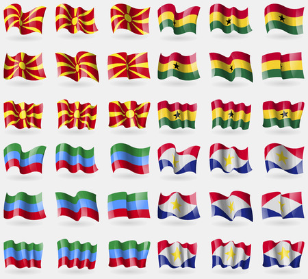 dagestan: Macedonia, Ghana, Dagestan, Saba. Set of 36 flags of the countries of the world. illustration