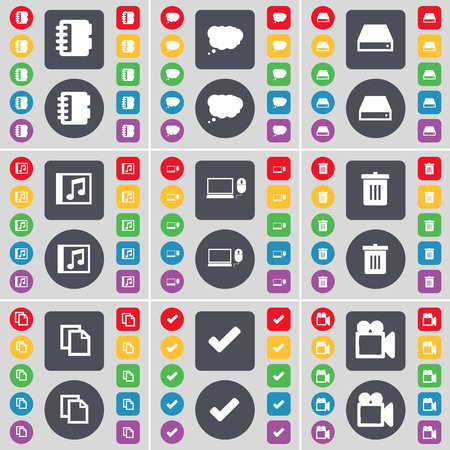 chat window: Notebook, Chat cloud, Hard drive, Media window, Laptop, Trash can, Copy, Tick, Film camera icon symbol. A large set of flat, colored buttons for your design. illustration