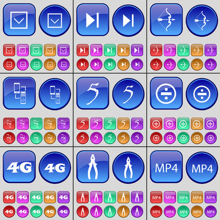 skip: Arrow down, Media skip, Bow, Connection, Five, Division, 4G, Pliers, MP4. A large set of multi-colored buttons. illustration