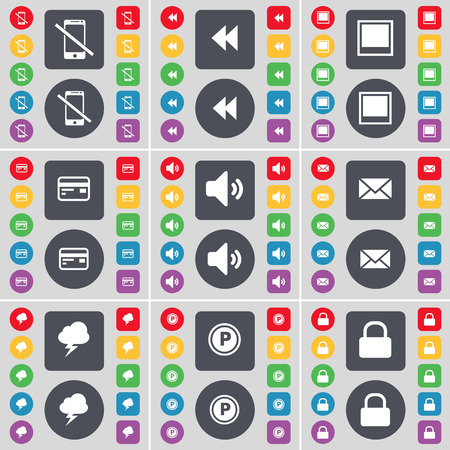 sound card: Smartphone, Rewind, Window, Credit card, Sound, Message, Cloud, Parking, Lock icon symbol. A large set of flat, colored buttons for your design. illustration