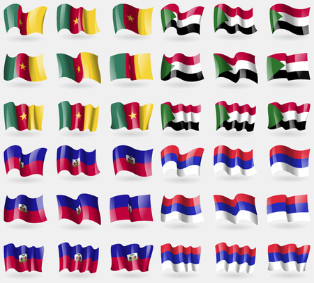 republika: Cameroon, Sudan, Haiti, Republika Srpska. Set of 36 flags of the countries of the world. illustration Stock Photo