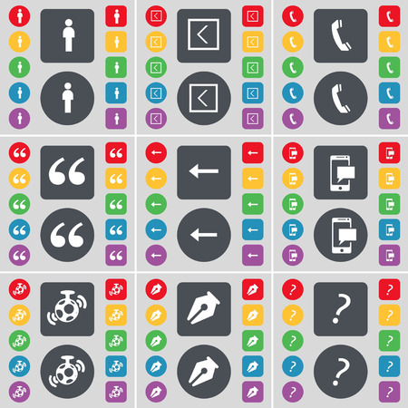 mark pen: Silhouette, Arrow left, Receiver, Quoting mark, SMS, Speaker, Ink pen, Question mark icon symbol. A large set of flat, colored buttons for your design. illustration