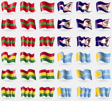 Transnistria, American Samoa, Bolivia, Tuva. Set of 36 flags of the countries of the world. illustration