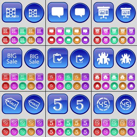 big five: Videotape, Chat bubble, Diagram, Big Sale, Survey, Bug, Sale, Five, Countdown. A large set of multi-colored buttons. illustration