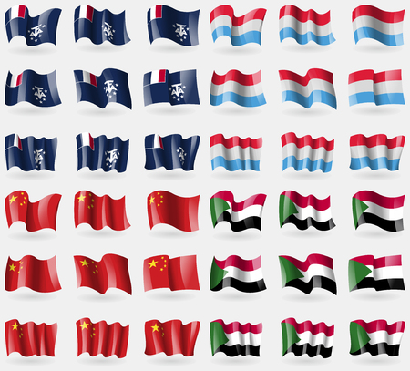 antarctic: French and Antarctic, Luxembourg, China, Sudan. Set of 36 flags of the countries of the world. illustration Stock Photo