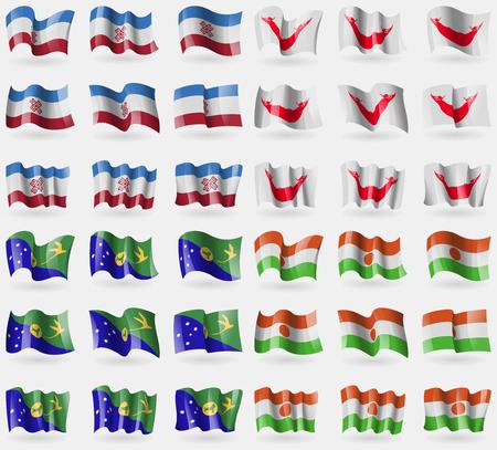 rapa nui: Mari El, Pascua Rapa Nui, Isla de Navidad, Níger. Conjunto de 36 banderas de los países del mundo. ilustración Foto de archivo