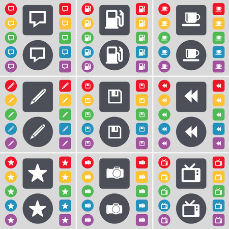 tv station: Chat bubble, Gas station, Cup, Pencil, Floppy, Rewind, Star, Camera, Retro TV icon symbol. A large set of flat, colored buttons for your design. illustration