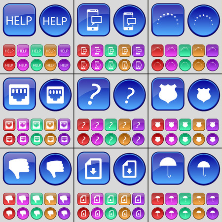 lan: Help, SMS, Stars, LAN socket, Question mark, Police badge, Dislike, File, Umbrella. A large set of multi-colored buttons. illustration Stock Photo