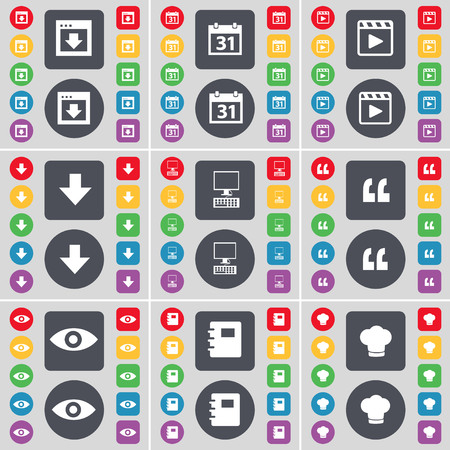media player: Window, Calendar, Media player, Arrow down, PC, Quoting mark, Intuition, Notebook, Cooking hat icon symbol. A large set of flat, colored buttons for your design. illustration Stock Photo