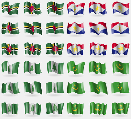 saba: Dominica, Saba, Norfolk Island, Mauritania. Set of 36 flags of the countries of the world. illustration