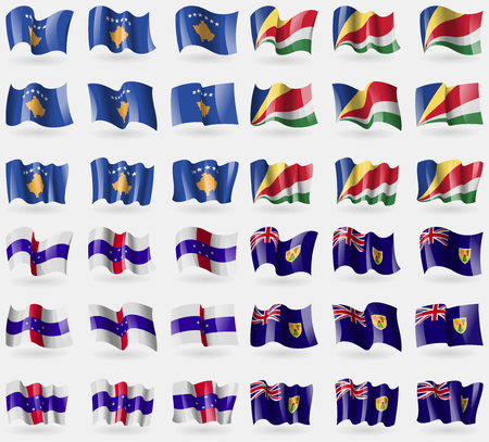 the turks: Kosovo, Seychelles, Netherlands Antilles, Turks and Caicos. Set of 36 flags of the countries of the world. illustration