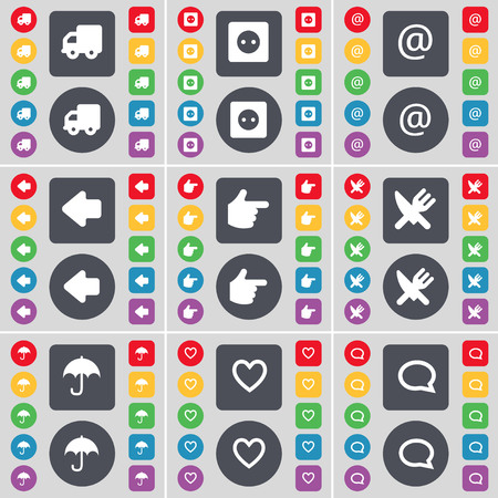 chat bubble icon: Truck, Socket, Mail, Arrow left, Hand, Fork and knife, Umbrella, Heart, Chat bubble icon symbol. A large set of flat, colored buttons for your design. illustration