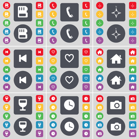 sim card: SIM card, Receiver, Compass, Media skip, Heart, House, Wineglass, Clock, Camera icon symbol. A large set of flat, colored buttons for your design. illustration Stock Photo