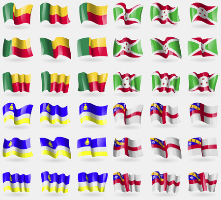 buryatia: Benin, Burundi, Buryatia, Herm. Set of 36 flags of the countries of the world. illustration Stock Photo