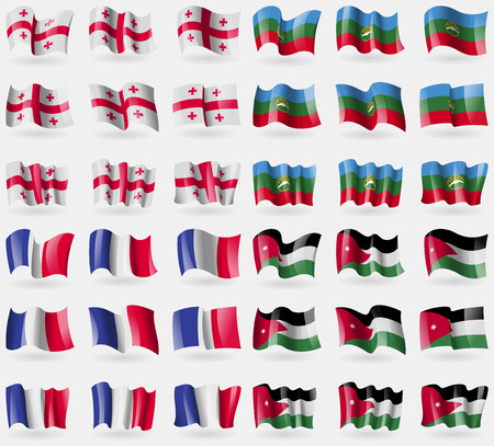 frence: Georgia, KarachayCherkessia, Frence, Jordan. Set of 36 flags of the countries of the world. illustration