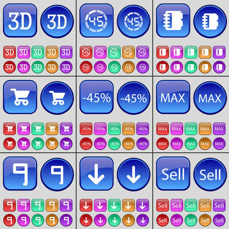 max: 3D, Countdown, Notebook, Shopping cart, Discount, Max, Nine, Arrow down, Sell. A large set of multi-colored buttons. illustration