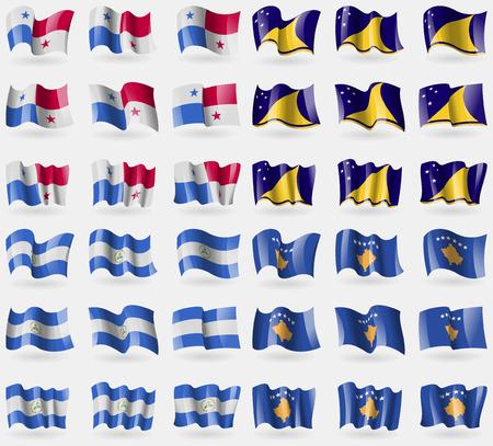 tokelau: Panama, Tokelau, Nicaragua, Kosovo. Set of 36 flags of the countries of the world. illustration