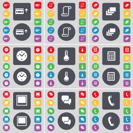 chat window: Cassette, Scroll, Gallery, Clock, Thermometer, Calculator, Window, Chat, Receiver icon symbol. A large set of flat, colored buttons for your design. illustration