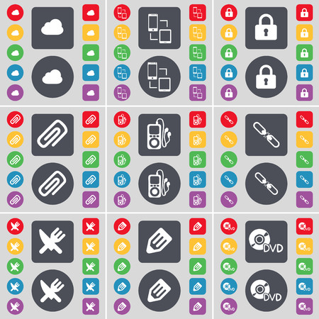 mp3 player: Cloud, Connection, Lock, Clip, MP3 player, Link, Fork and knife, Pencil, DVD icon symbol. A large set of flat, colored buttons for your design. illustration