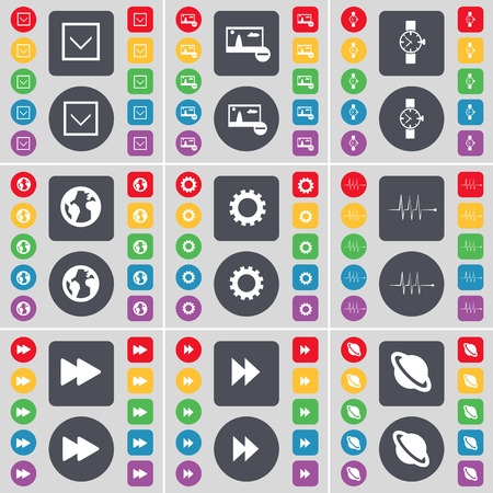 arrow down: Arrow down, Picture, Wrist watch, Earth, Gear, Pulse, Rewind, Planet icon symbol. A large set of flat, colored buttons for your design. illustration