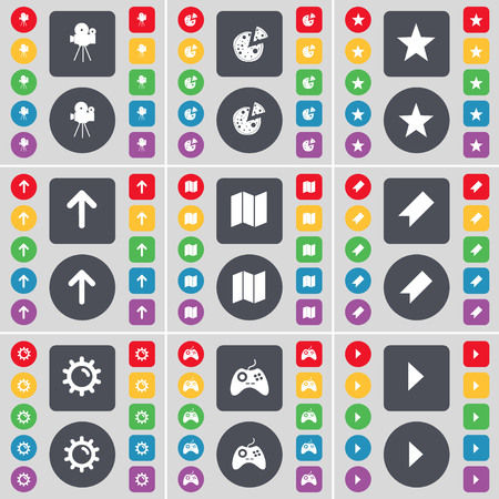 starr: Film camera, Pizza, Starr, Arrow up, Map, Marker, Gear, Gamepad, Media play icon symbol. A large set of flat, colored buttons for your design. illustration