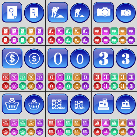 road works: Search, Road works, Camera, Dollar, Zero, Three, Basket, Videotape, Cash register. A large set of multi-colored buttons. illustration