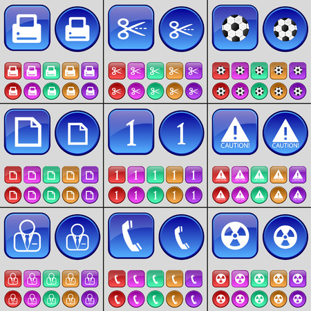 receiver: Printer, Scissors, Ball, File, One, Caution, Avatar, Receiver, Videotape. A large set of multi-colored buttons. illustration