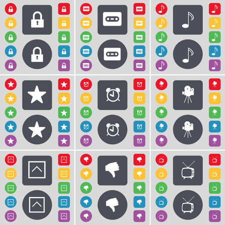 lock up: Lock, Cassette, Note, Star, Alarm clock, Film camera, Arrow up, Dislike, Retro TV icon symbol. A large set of flat, colored buttons for your design. illustration Stock Photo