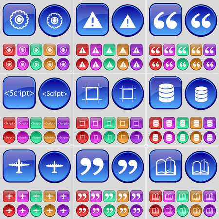 book mark: Gear, Warning, Quotation mark, Script, Frame, Database, Airplane, Book. A large set of multi-colored buttons. illustration
