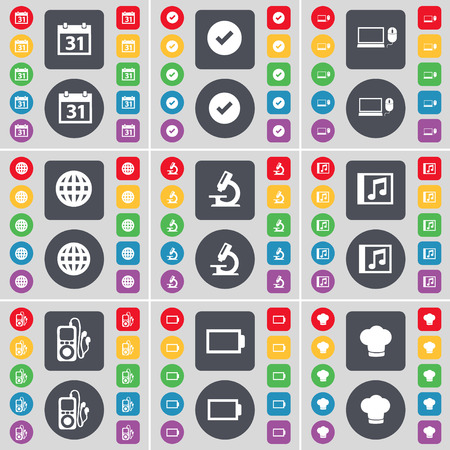 mp3 player: Calendar, Tick, Laptop, Globe, Microscope, Media window, MP3 player, Battery, Cooking hat icon symbol. A large set of flat, colored buttons for your design. illustration