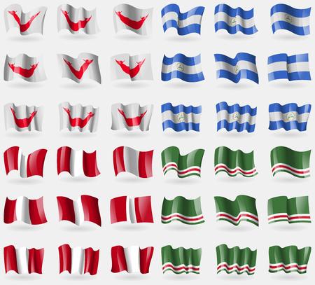 rapa nui: Pascua Rapa Nui, Nicaragua, Perú, República chechena de Ichkeria. Conjunto de 36 banderas de los países del mundo. ilustración