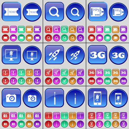 3g: Ticket, Magnifying glass, MP3, Monitor, Rocket, 3G, Camera, Screwdriver, Smartphone. A large set of multi-colored buttons. illustration