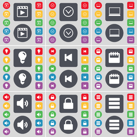media player: Media player, Arrow down, Laptop, Light bulb, Media skip, Calendar, Sound, Lock, Apps icon symbol. A large set of flat, colored buttons for your design. illustration