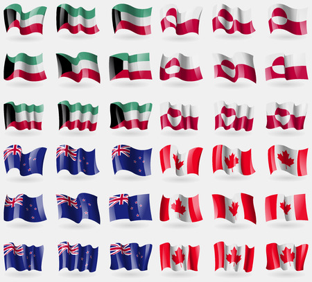 new zeland: Kuwait, Greenland, New Zeland, Canada. Set of 36 flags of the countries of the world. illustration