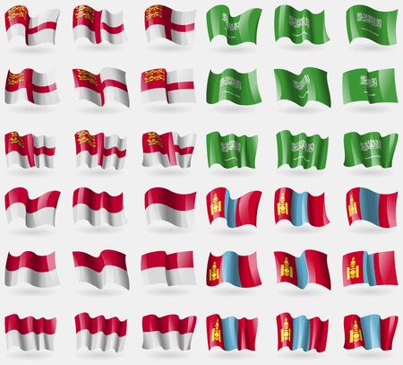 sark: Sark, Saudi Arabia, Indonesia, Mongolia. Set of 36 flags of the countries of the world. illustration