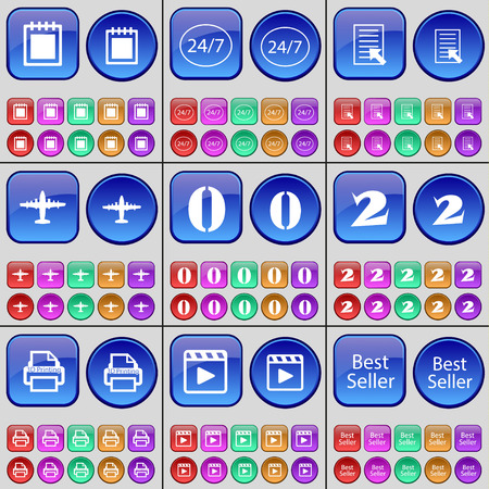 media player: Notebook, 247, Text file, Airplane, Zero, Two, 3D Printing, Media player, Best Seller. A large set of multi-colored buttons. illustration