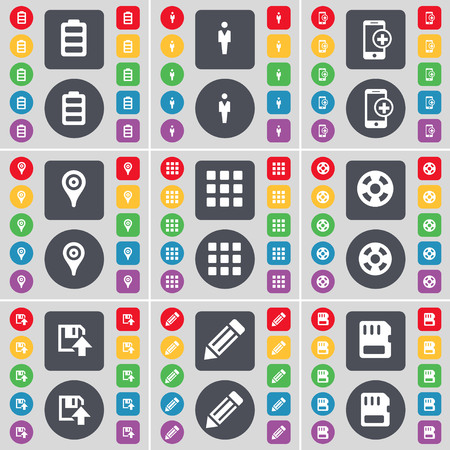 sim card: Battery, Silhouette, Smartphone, Checkpoint, Apps, Videotape, Floppy, Pencil, SIM card icon symbol. A large set of flat, colored buttons for your design. illustration