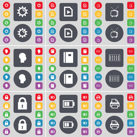 sillhouette: Gear, Media file, Retro TV, Sillhouette, Notebook, Equalizer, Lock, Battery, Printer icon symbol. A large set of flat, colored buttons for your design. illustration