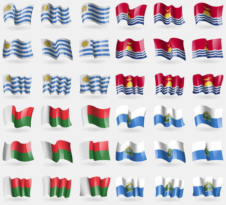 Uryguay, Kiribati, Madagascar, San Marino. Set of 36 flags of the countries of the world. illustration