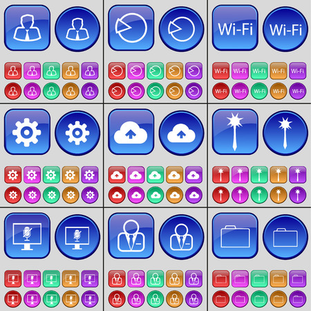 mace: Avatar, Diagram, Wi-Fi, Gear, Cloud, Mace, Monitor, Avatar, Folder. A large set of multi-colored buttons. illustration Stock Photo