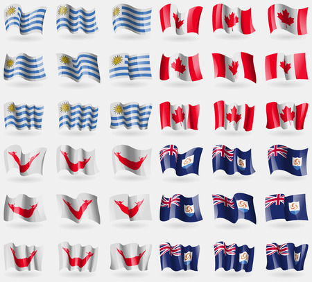 rapa: Uruguay, Canada, Easter Rapa Nui, Anguilla. Set of 36 flags of the countries of the world. illustration Stock Photo