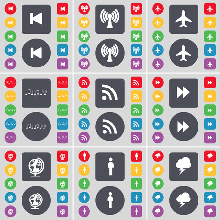 skip: Media skip, Wi-Fi, Airplane, Note, RSS, Rewind, Globe, Silhouette, Lightning icon symbol. A large set of flat, colored buttons for your design. illustration