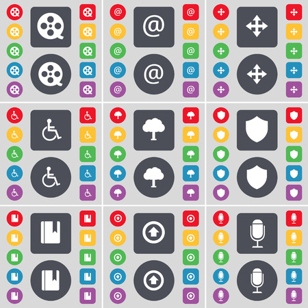 videotape: Videotape, Mail, Moving, Disabled person, Tree, Badge, Dictionary, Arrow up, Microphone icon symbol. A large set of flat, colored buttons for your design. illustration