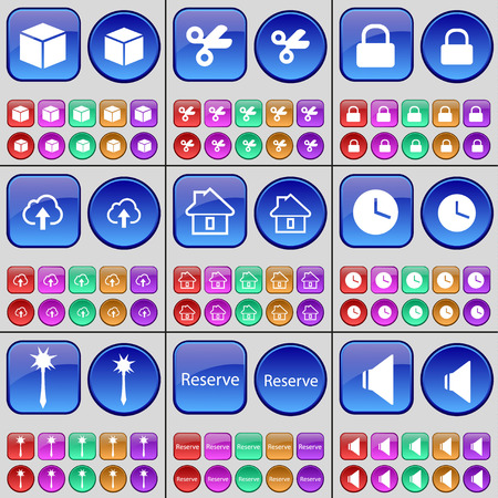 sound box: Box, Scissors, Lock, Cloud, House, Clock, Mace, Reserve, Sound. A large set of multi-colored buttons. illustration