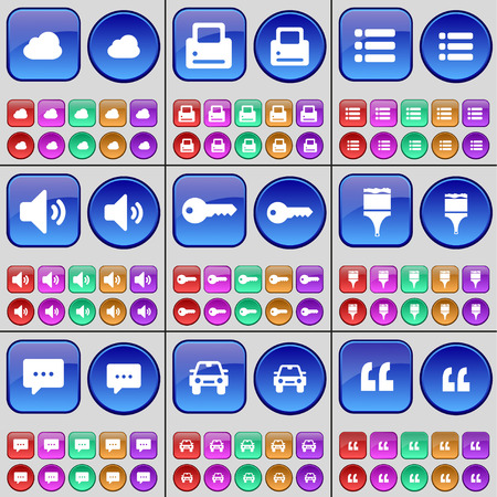 bubble car: Cloud, Printer, List, Sound, Key, Brush, Chat bubble, Car, Quotation mark. A large set of multi-colored buttons. illustration Stock Photo