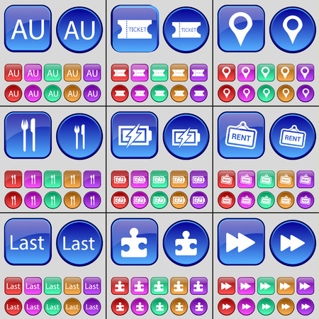 au: AU, Ticket, Checkpoint, Cutlery, Charging, Rent, Last, Puzzle, Rewind. A large set of multi-colored buttons. illustration Stock Photo