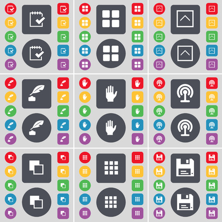 inkpot: Survey, Apps, Arrow up, Inkpot, Hand, Wi-Fi, Copy, Floppy icon symbol. A large set of flat, colored buttons for your design. illustration