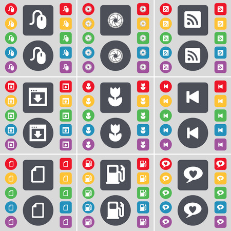 chat bubble icon: Mouse, Lens, RSS, Window, Flower, Media skip, File, Gas station, Chat bubble icon symbol. A large set of flat, colored buttons for your design. illustration