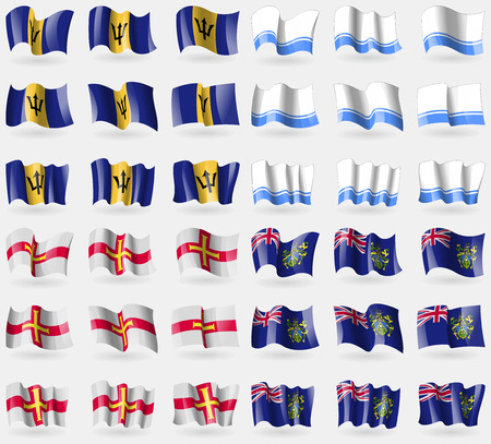 pitcairn: Barbados, Altai Republic, Guernsey, Pitcairn Islands. Set of 36 flags of the countries of the world. illustration