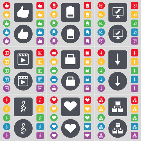 heart monitor: Like, Battery, Monitor, Media player, Suitcase, Arrow down, Clef, Heart, Network icon symbol. A large set of flat, colored buttons for your design. illustration